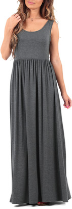 California Trading Group Women's Maxi Dresses Charcoal - Charcoal Ruched Sleeveless Maxi Dress - Women & Plus
