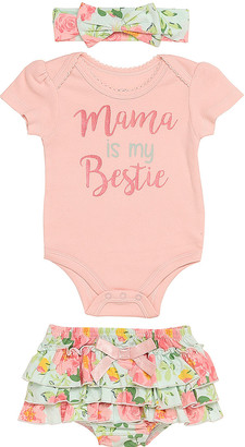Baby Starters Girls' Infant Bodysuits Coral - Coral Floral 'Mama is My Bestie' Bodysuit Set - Newborn & Infant