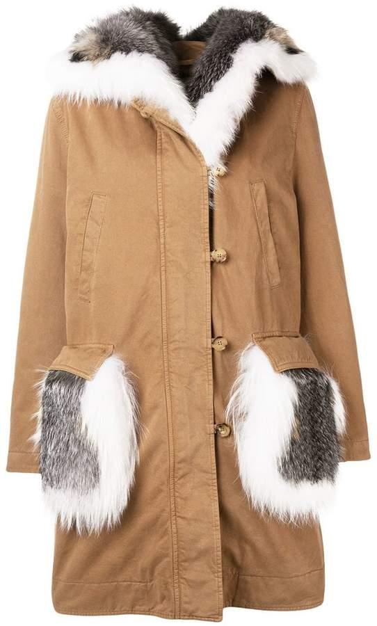 Ermanno Scervino fur trim padded coat