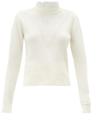 See by Chloe Embroidered-collar Ribbed V-panel Sweater - White