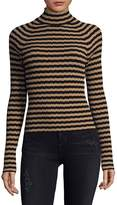 Ronny Kobo Women's Stripe Ribbed Turtleneck
