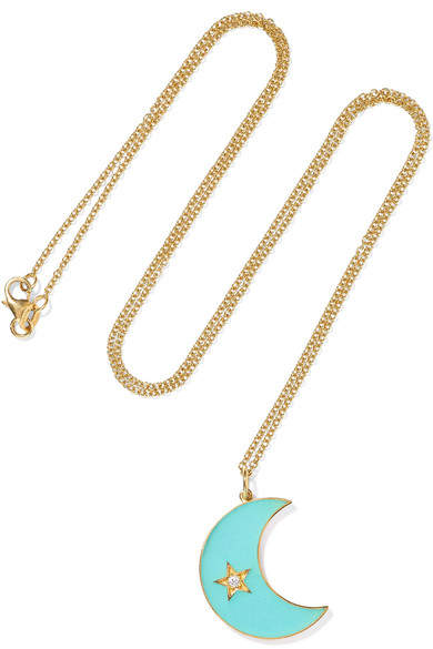 Andrea Fohrman Crescent Moon 18-karat Gold, Enamel And Diamond Necklace