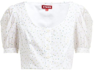STAUD Tibou Cropped Floral-print Top - White Multi