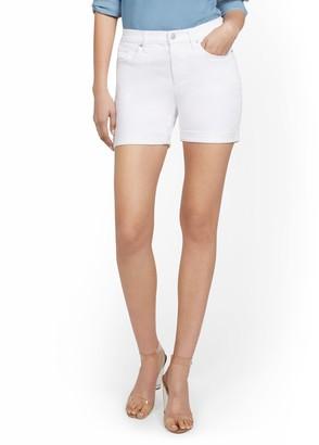 New York & Co. High-Waisted Curvy Boyfriend 5-Inch Jean Short - White