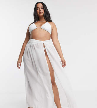 Asos DESIGN CURVE twist front recycled maxi beach sarong in white