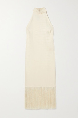 Taller Marmo Olympia Fringed Satin-jacquard Halterneck Dress - Ivory
