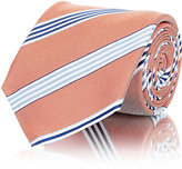 Barneys New York MEN'S TEXTURED-STRIPE NECKTIE-ORANGE