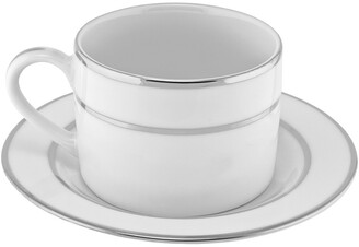Ten Strawberry Street Set Of 6 Silver Double Line Cup & Saucer