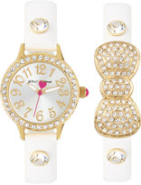 Betsey Johnson Women's White Imitation Leather Strap Watch & Bracelet Set 30mm BJ00536-37