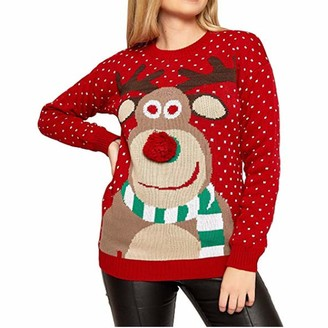 CHIYEEE Women's Christmas Deer Jumpers Xmas Festival Pullover Ladies Long Sleeve Knit Sweater Red XL