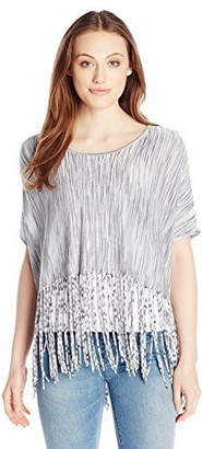 Minnie Rose Women's Viscose Space Dye Crop Fringe Top