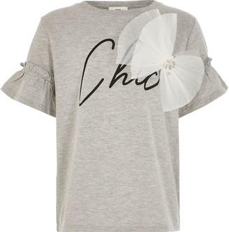 River Island Girls light Grey 'Chic' print bow T-shirt