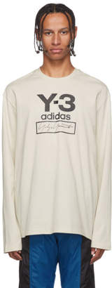 Y-3 Y 3 Off-White Stacked Logo Long Sleeve T-Shirt