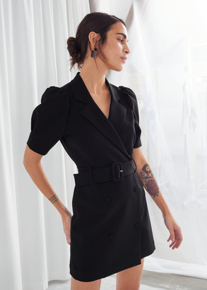 And other stories Puff Sleeve Belted Mini Dress