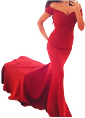 Zilcremo Women Elegant Evening Dress Off The Shoulder Mermaid Maxi Cocktail Party Dress Red L