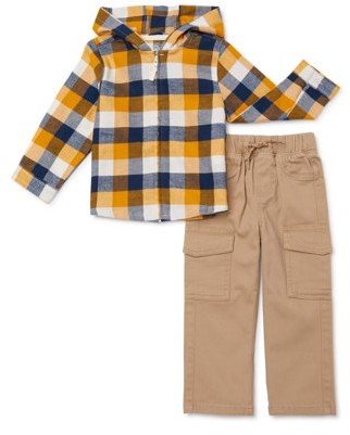 Wonder Nation Toddler Boys Hooded Flannel Plaid Shirt & Cargo Pants, 2-Piece Outfit Set
