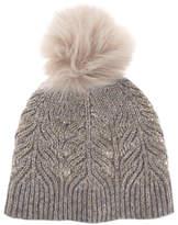 Mint Velvet Metallic Cable Knit Hat, Light Brown