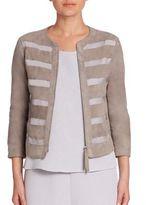 Armani Collezioni Sheer Panel Suede Jacket