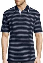 Claiborne Short-Sleeve Interlock Striped Polo