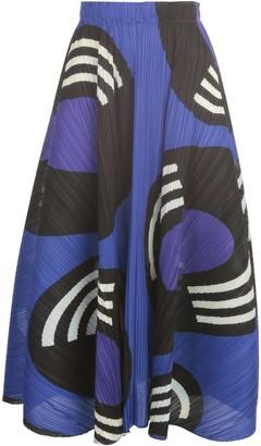 Pleats Please Issey Miyake Flared Skirt W/ Horizontal Pleats On The Sides