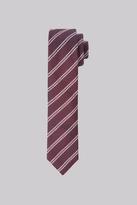 Moss Bros Premium Burgundy Stripe Silk Skinny Tie