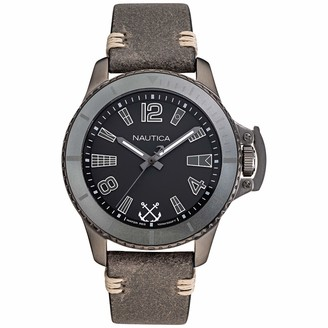 Nautica Men's Bayside Japanese Quartz Leather Strap