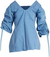 Toga Creased-effect cutaway taffeta top