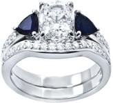 Diamonique & Simulated Gemstone Bridal Ring Set,Platinum Clad