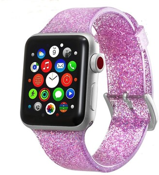Posh Tech Silicone Bling Glitter Band with Buckle Closure Version for 42mm/44mm Apple Watch Series 1, 2, 3, 4, 5