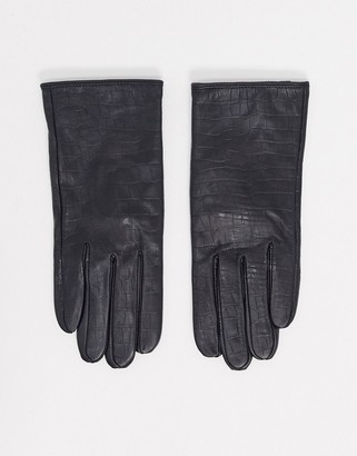 Barneys New York real leather gloves in mock croc