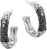 John Hardy Sterling Silver Bamboo Black Sapphire Lava Hoop Earrings