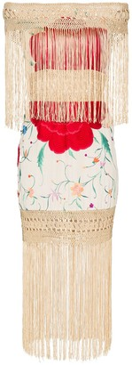 Floral-Embroidered Fringe Dress