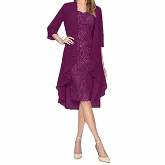 Moent Dress Moent Women's Two Pieces Charming Dress Solid Color Mother of The Bride Lace Dresses
