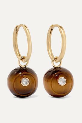 Noor Fares Svadhishthana 14-karat Gold Tiger's Eye And Diamond Earrings