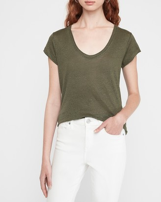 Express Scoop Neck Linen Tee