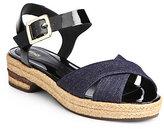 Fendi Junia Denim Ankle-Strap Sandals