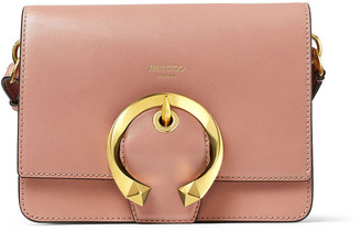 Jimmy Choo MADELINE SHOULDER Blush Calf Leather Shoulder Bag with Metal Buckle