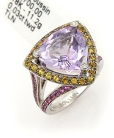 Mauboussin 18K White Gold Amethyst Diamonds & Sapphires Ring