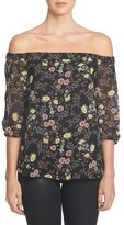1 STATE 1.State Floral Print Chiffon Off the Shoulder Top