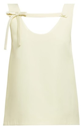 Prada Bow-strap Crepe Blouse - Womens - Cream
