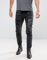 Asos Skinny Jeans With Biker Zip And Rips Details In Washed Black