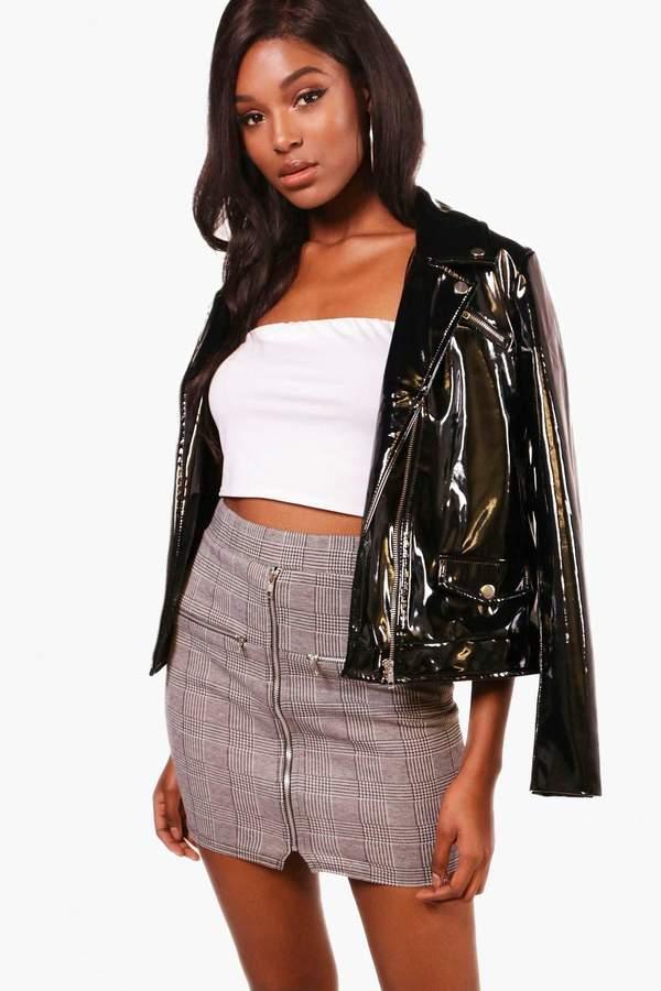 boohoo Mono Check Zip Detail Mini Skirt