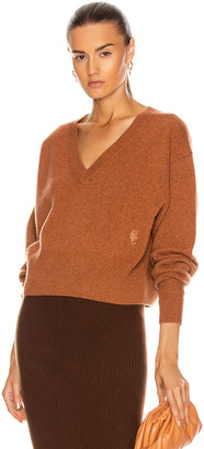 Chloé Cashmere Crop Sweater in Rusted Brown | FWRD