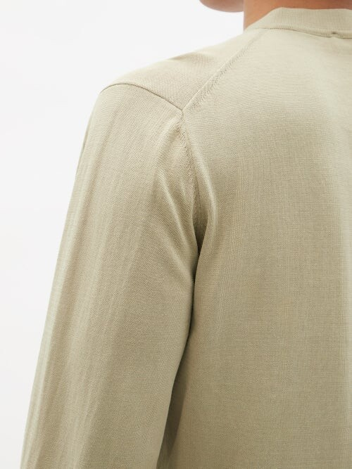 Thumbnail for your product : Thom Sweeney - Mother-of-pearl Button Cotton Henley T-shirt - Beige