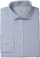 Haggar Men's Gingham Fancy Poplin Long Sleeve Fitted Spread Collar Shirt