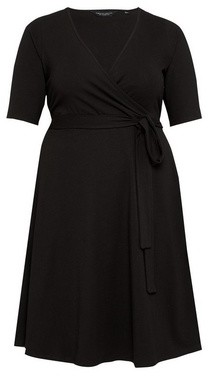 Dorothy Perkins Womens Dp Curve Black Wrap Dress, Black