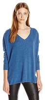 Minnie Rose Women's Cashmere Long Sleeve V-Neck Pullover Sweater