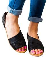Huiyuzhi Womens Open Toe Flat Sandals Side Laser Cutout Sandal Ankle Booties Flats