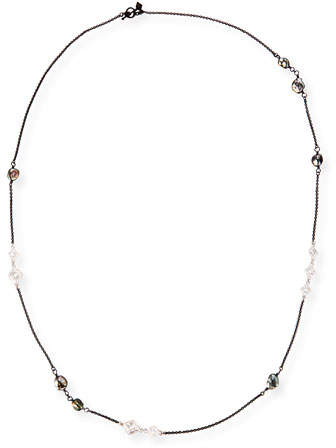 Armenta New World Scroll Chain Necklace with Keshi Pearls, 36""