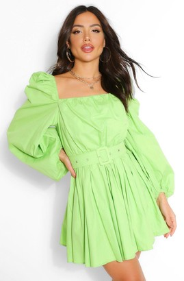 boohoo Cotton Square Neck Rouched Belted Skater Dress